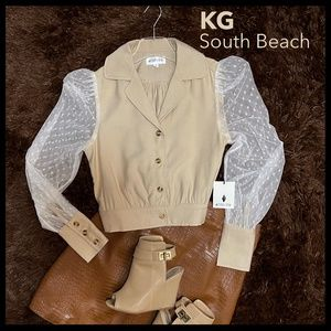 Semi-Cropped Button Up Top W/Soft Mesh Sleeves